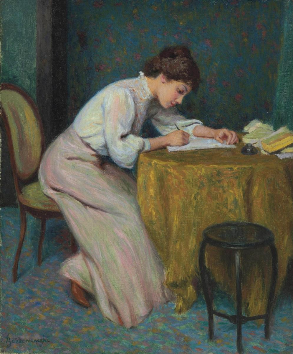 Federico Zandomenegi. Young woman writing a letter