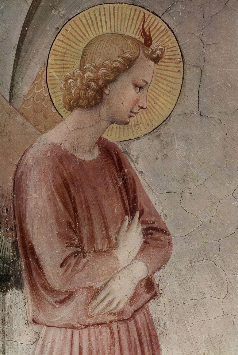 Фра Беато Анджелико. Цикл фресок доминиканского монастырн Сан Марко во Флоренции, сцена: Благовещение; деталь: Ангел Благовещения