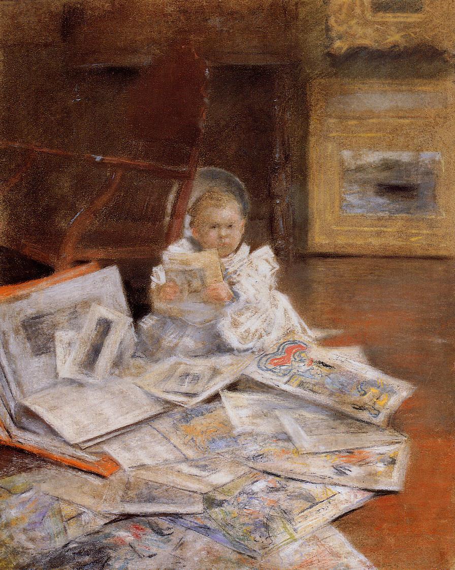 William Merritt Chase. Child with prints