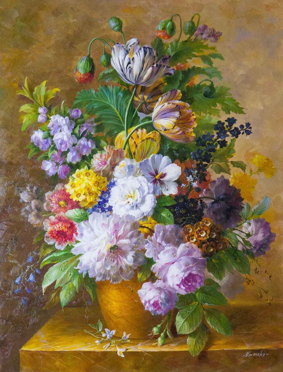 Савелий Камский. Букет c тюльпанами в стиле барокко