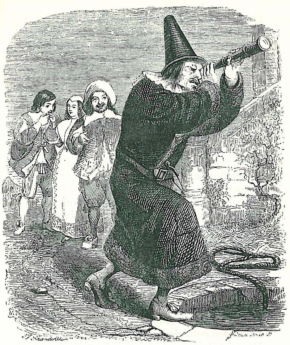 Жан Иньяс Изидор (Жерар) Гранвиль. Астролог, упавший в колодец. Иллюстрации к басням Жана де Лафонтена