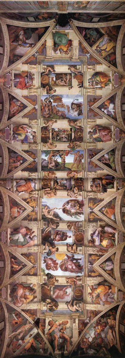 Микеланджело Буонарроти. Потолок Сикстинской капеллы.