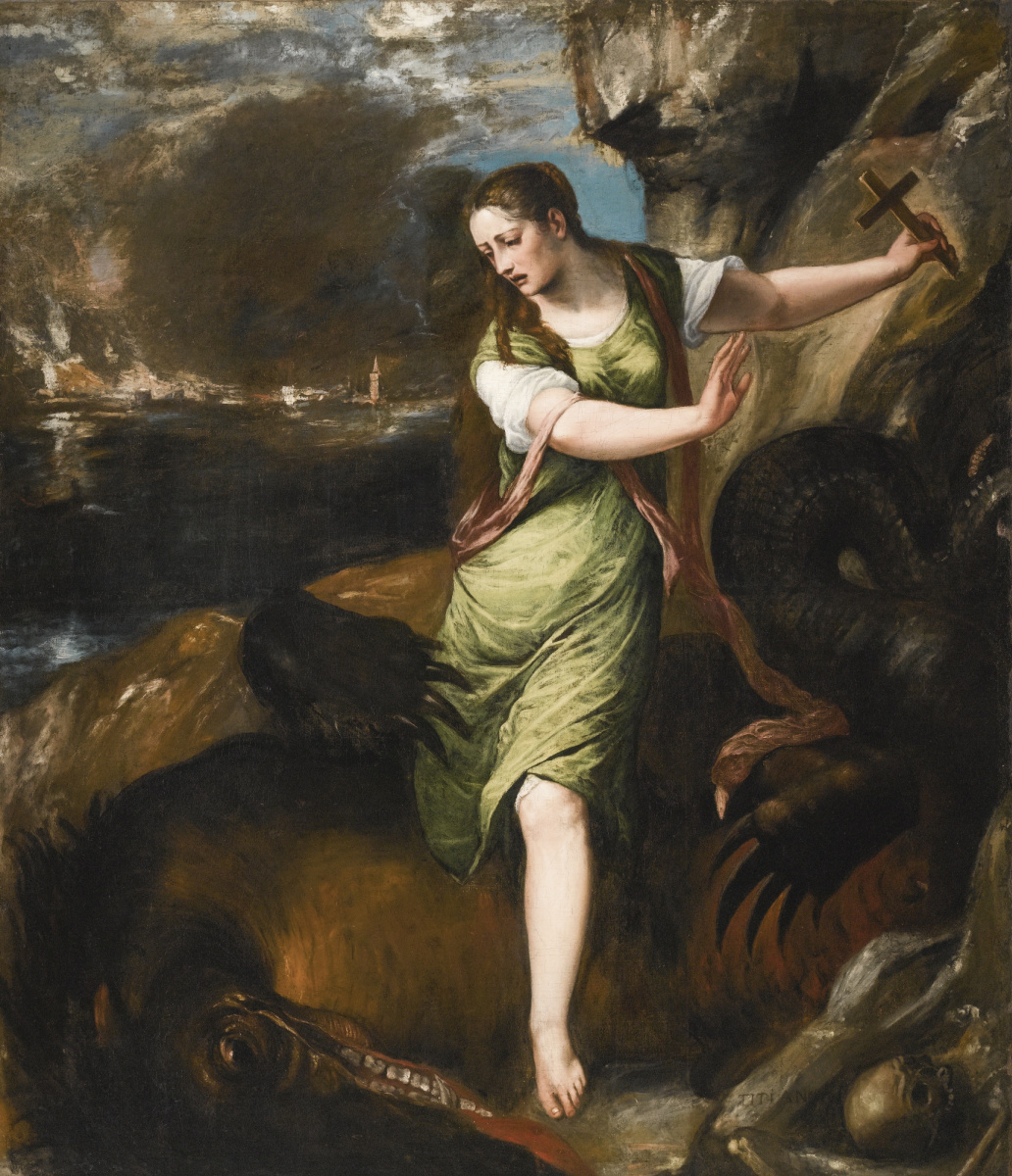 Titian Vecelli. St Margaret and the Dragon