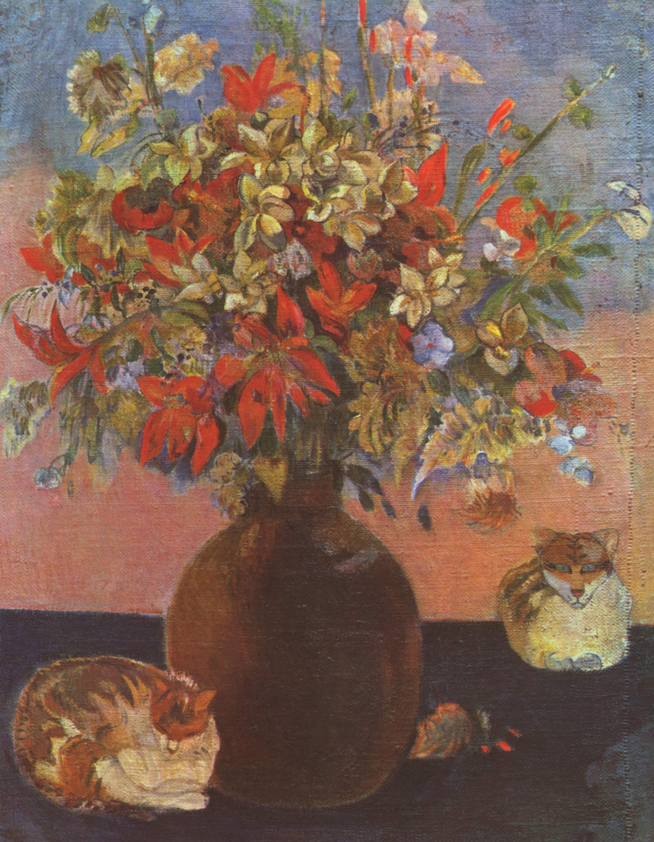 Поль Гоген. Цветы и кошки