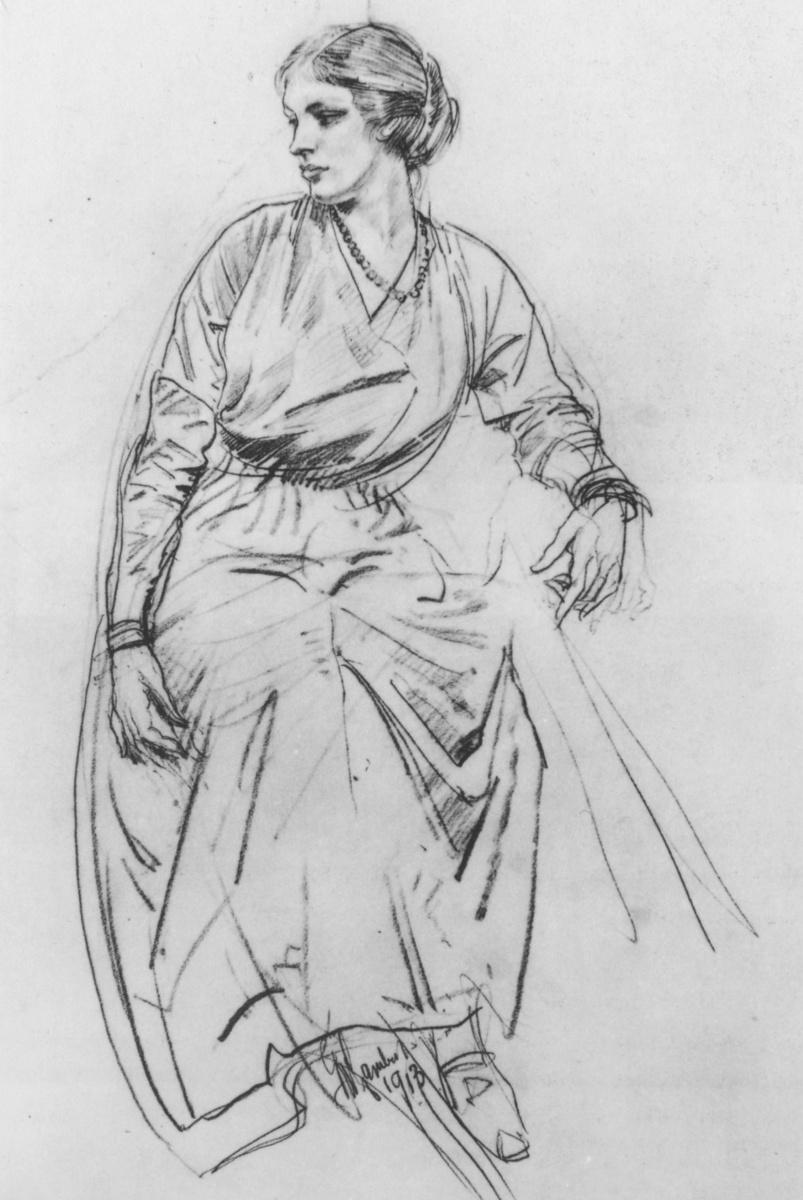 Джордж Ламберт. Сидящая женщина