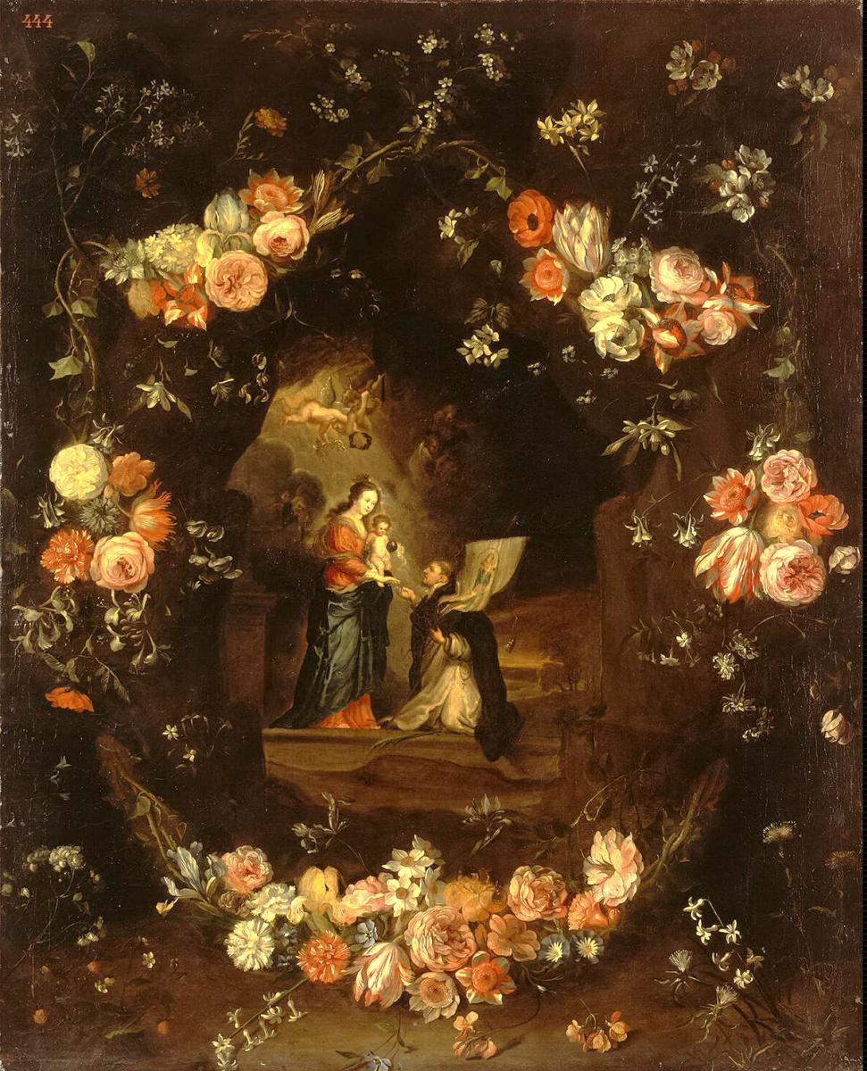 Ян ван Кессель Старший. Мадонна с Младенцем и Святым Идельфонсом в гирлянде цветов