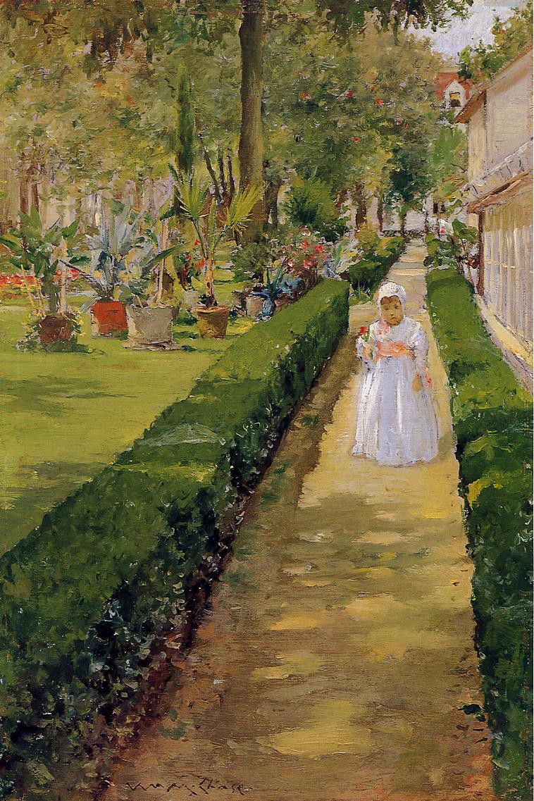 William Merritt Chase. The child walking in the garden