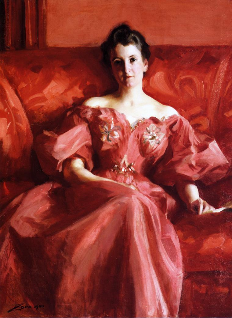 Alfred Emil-Leopold Stevens. The woman in the red dress