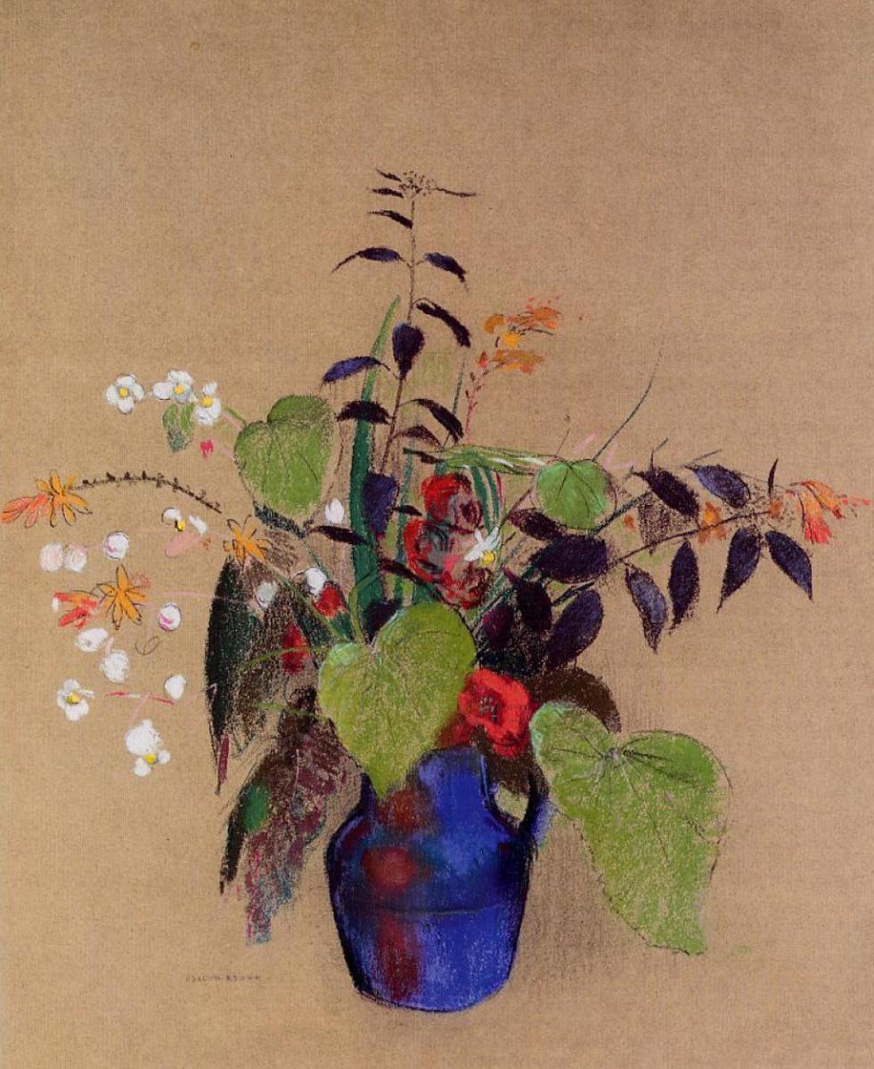 Odilon Redon. Flowers in a blue jug