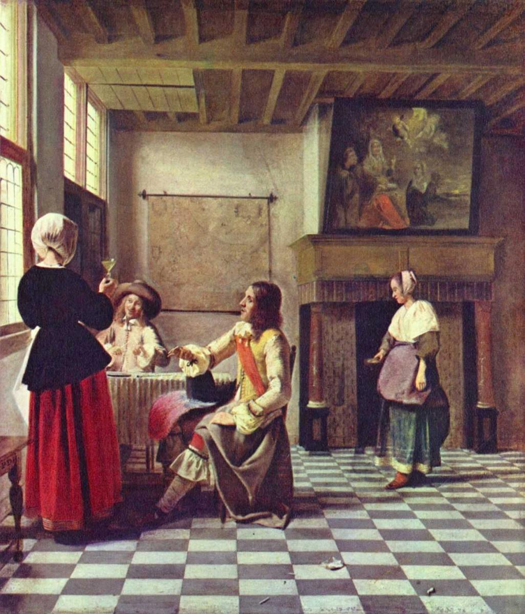 Питер де Хох. Женщина и двое мужчин, пьющие вино, и служанка