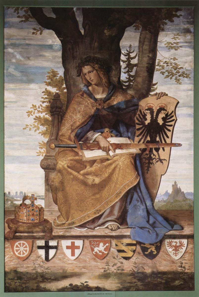 Филипп Вайт. Настенная роспись из старого Штеделевского института, правая часть: Аллегорическая фигура Германии