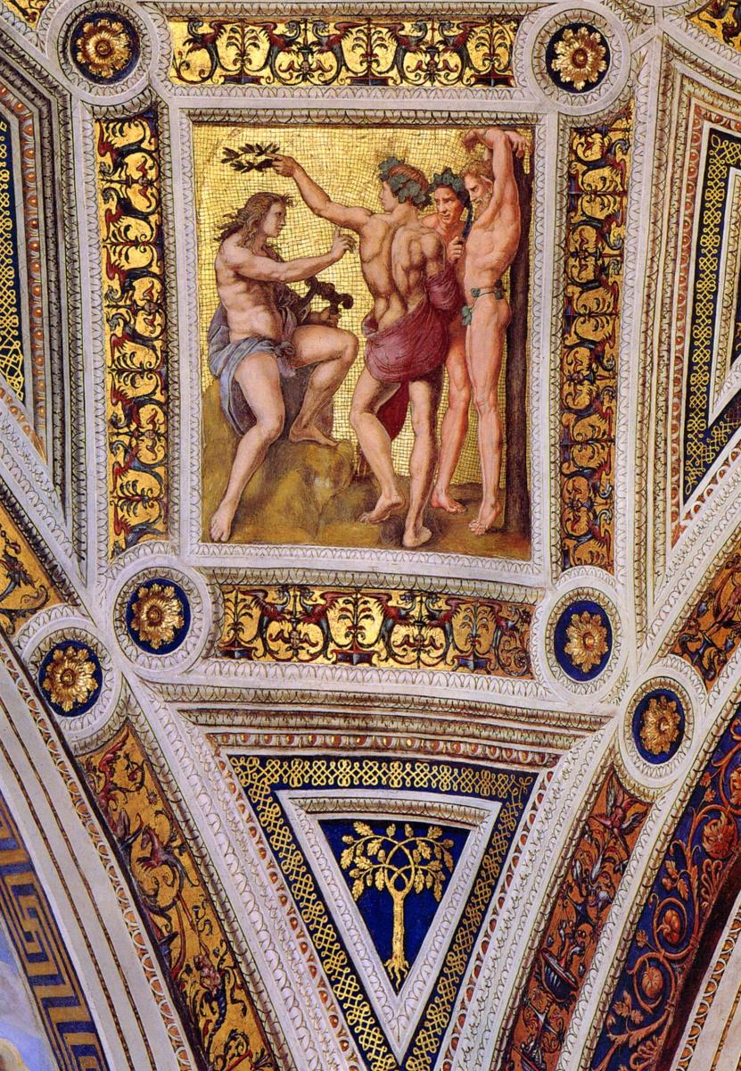 Рафаэль Санти. Станца делла Сеньятура. Роспись потолка. Аполлон и Марсий