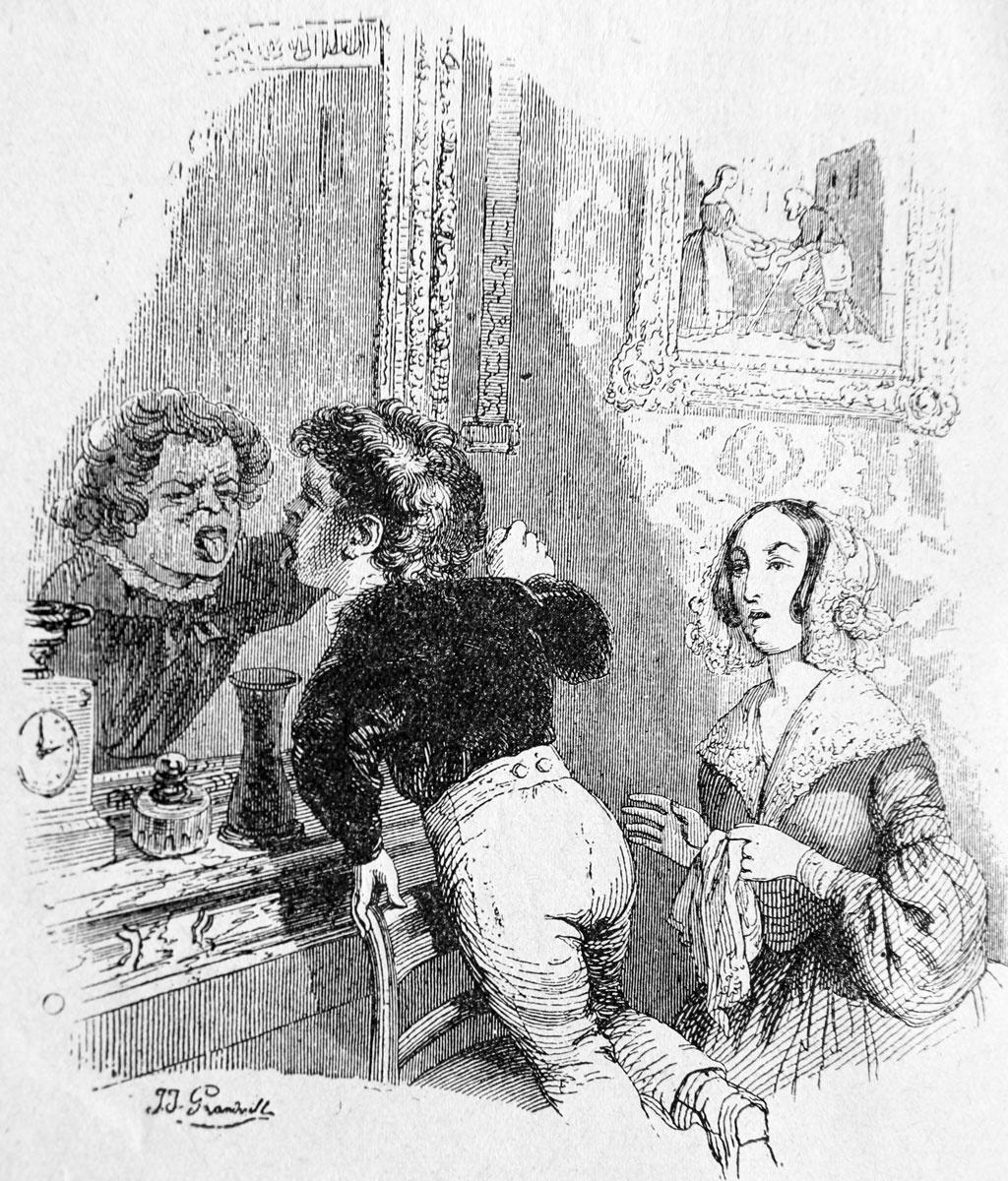 Жан Иньяс Изидор (Жерар) Гранвиль. Малыш и зеркало. Иллюстрации к басням Флориана