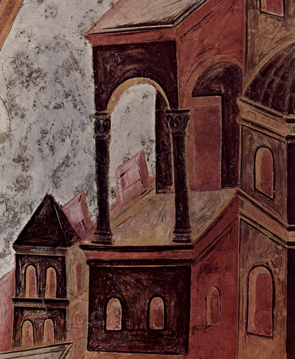 Cimabue (Chenny di Pepo). Frescoes of the Upper Church of San Francesco in Assisi, fresco on the middle vault: St. Matthew. Detail: architecture (Italy)
