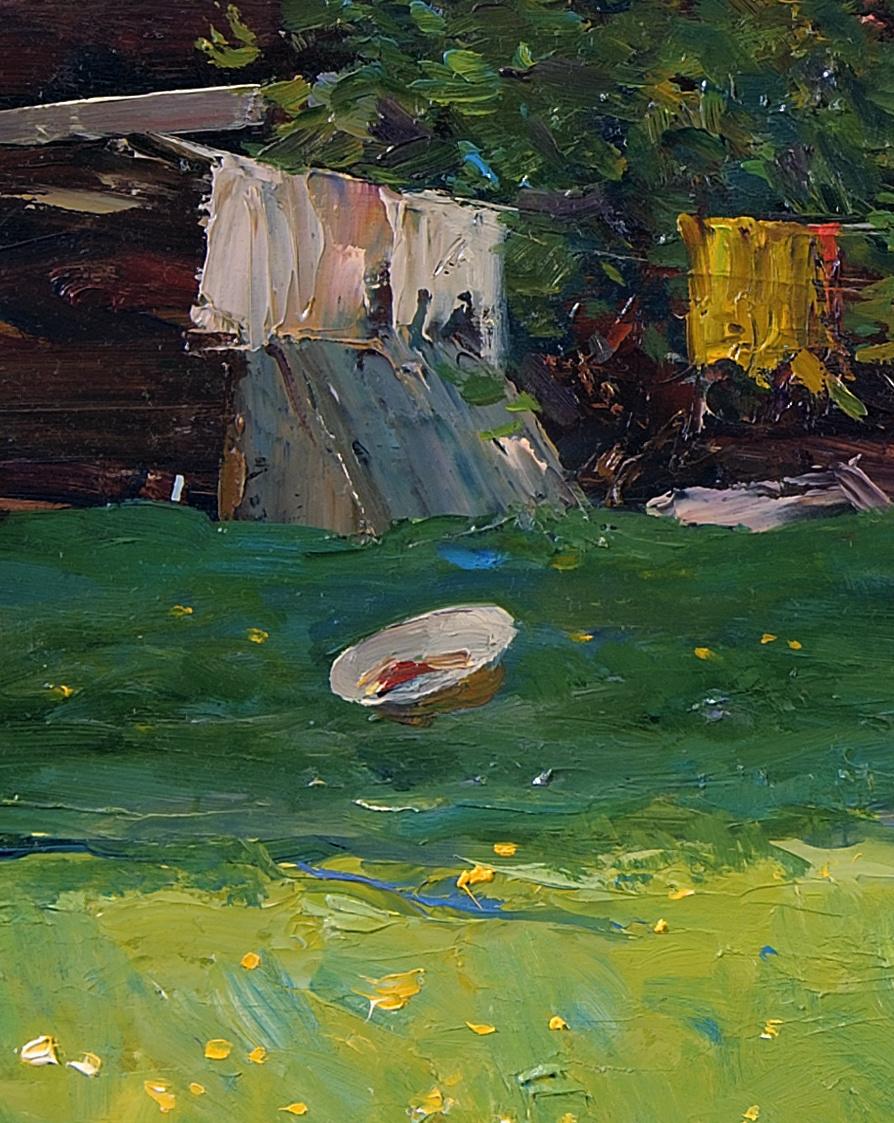 За домом.Май.Оргалит,масло 35,5 x 68,5 см.2010 6