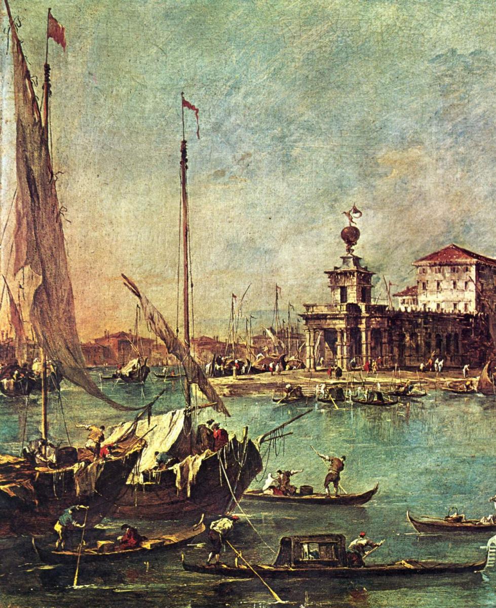 Франческо Гварди. Вид от Таможни на церковь делла Салюте, фрагмент