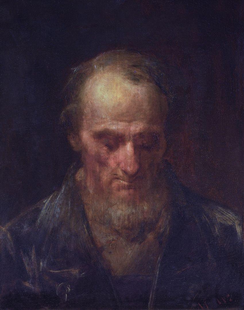 """Михай Либ Мункачи. Портрет пожилого мужчины. Эскиз для картины """"Христос перед Пилатом"""""""