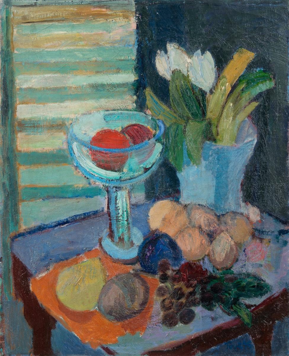 Туве Янссон. Натюрморт с фруктами и тюльпанами