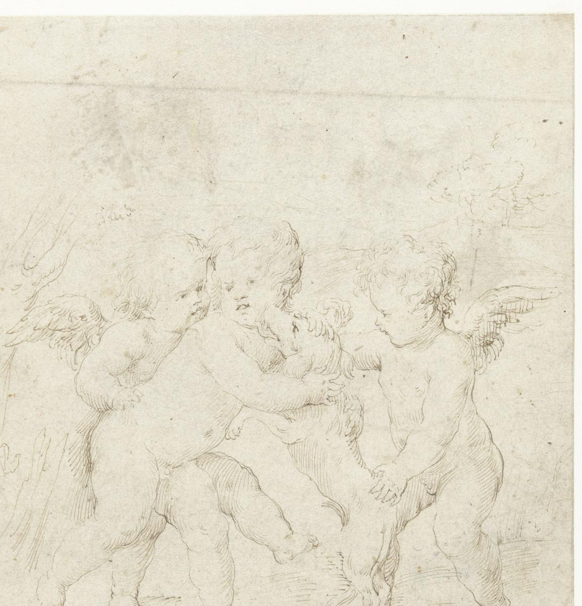 Anthony van Dyck. Three putti with a dog