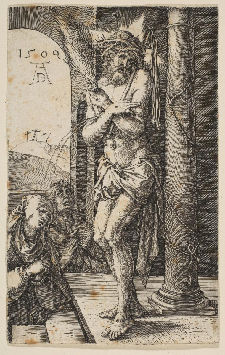"""Альбрехт Дюрер. Христос-страстотерпец у колонны. Из цикла """"Страсти Христовы"""""""