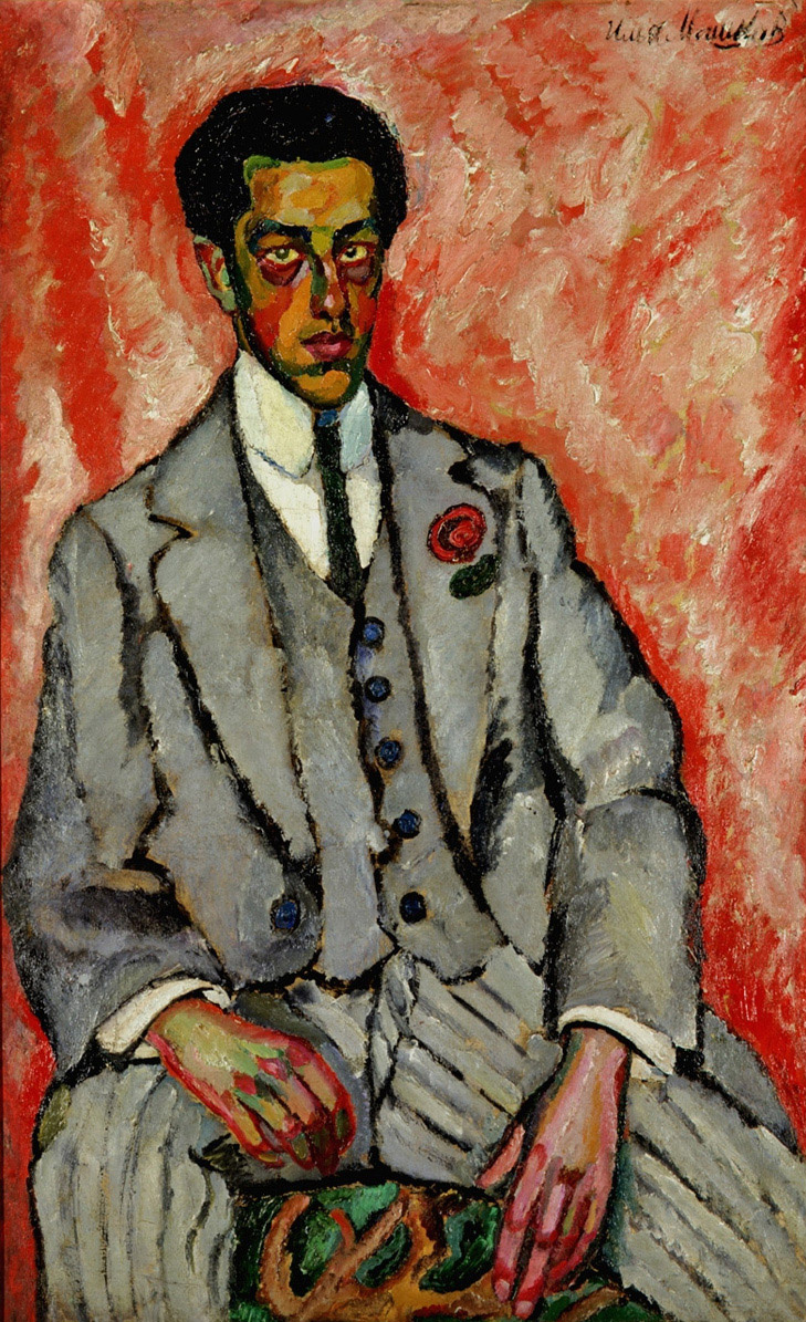 Ilya Ivanovich Mashkov. Portrait of an unknown man with a flower in his buttonhole. 1910