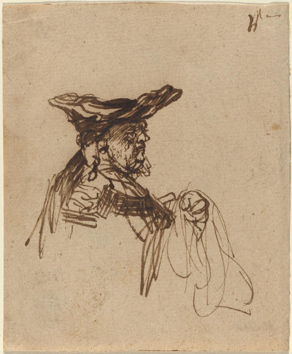 Rembrandt Harmenszoon van Rijn. Bust of an Elderly Man in a Flat Cap
