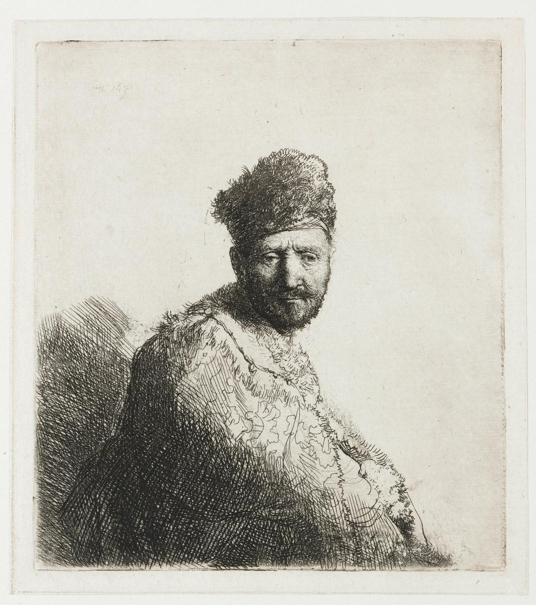Рембрандт Харменс ван Рейн. Бородатый мужчина в вышитой накидке и меховой шапке (отец Рембрандта?)