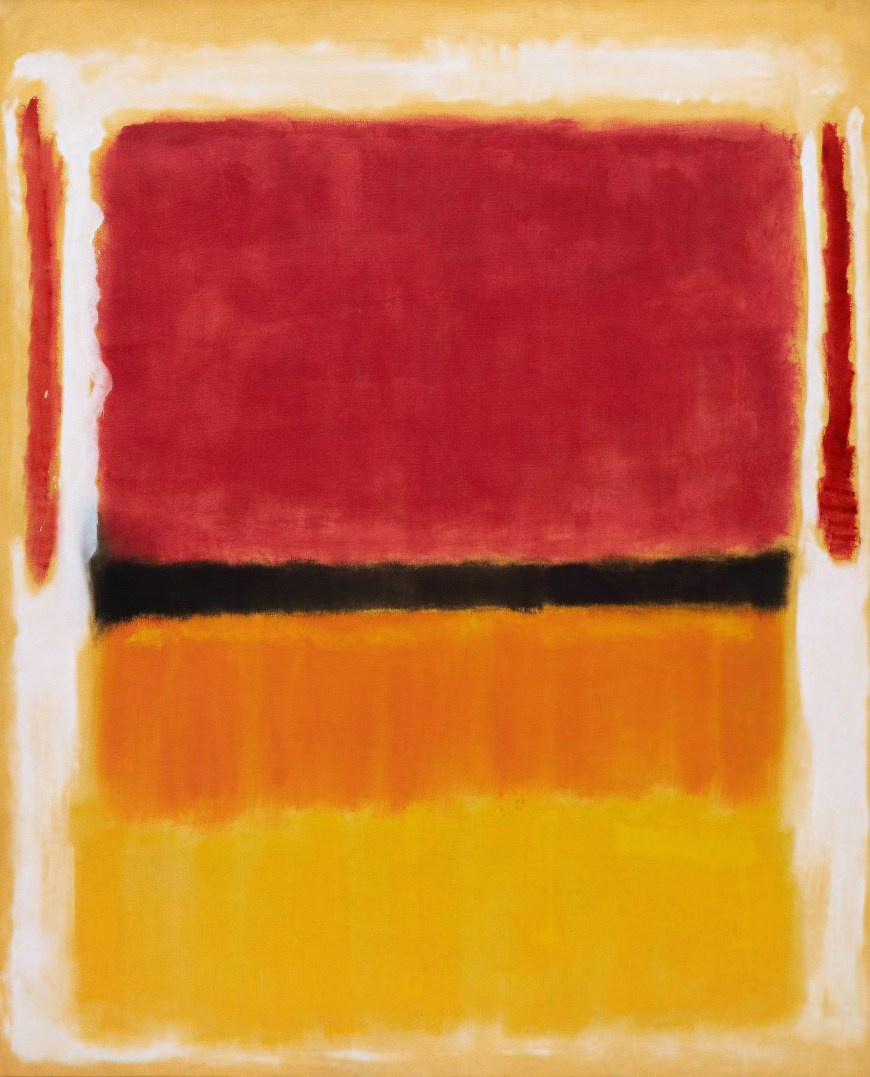 Rothko Mark. Untitled (Violet, black, orange, yellow on white and red)
