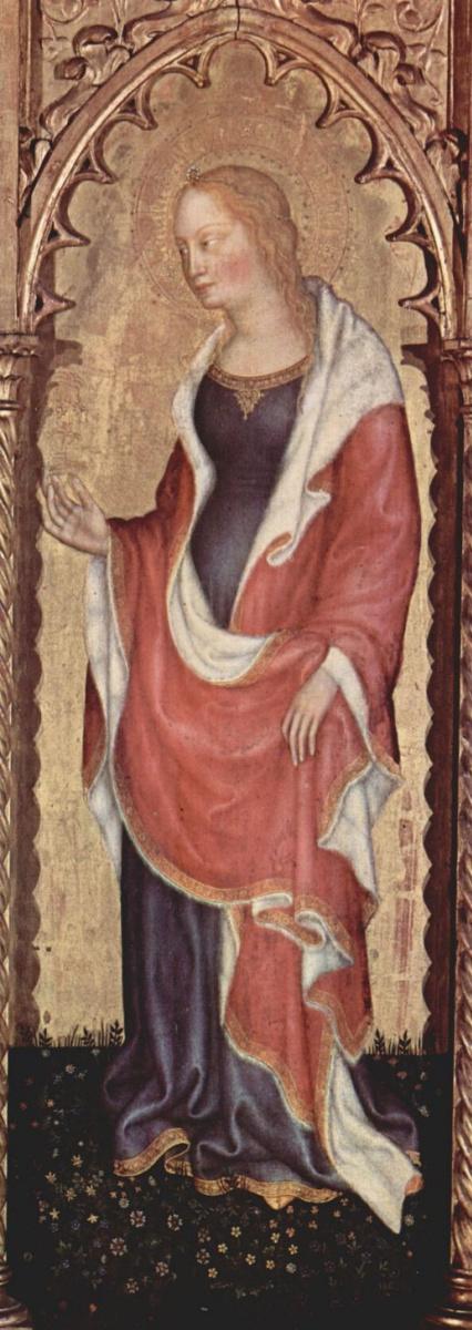 Джентиле да Фабриано. Коронование Марии, правая створка внешняя сторона, сцена: св. Мария Магдалина