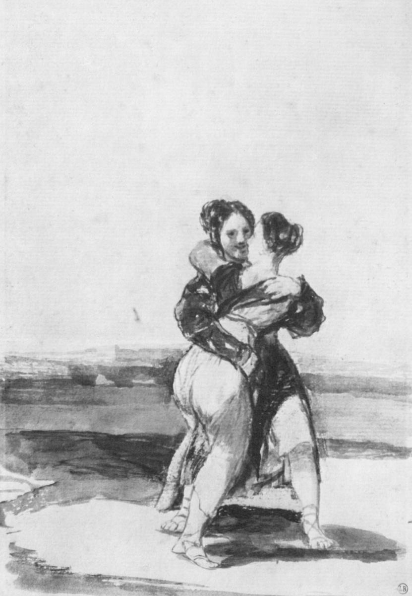 Франсиско Гойя. Альбом с черным полем, лист 36: Две обхватившие друг друга женщины
