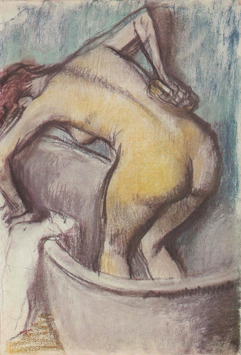 Edgar Degas. A girl taking a bath