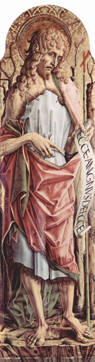 Карло Кривелли. Иоанн Креститель. Центральный алтарь кафедрального собора в Асколи, полиптих, левая створка, внутренняя сторона