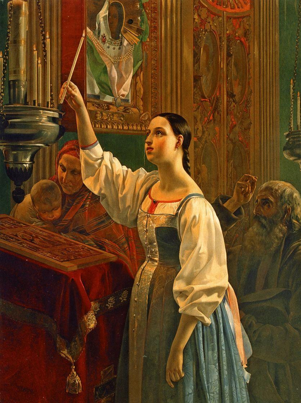 Григорий Карпович Михайлов. Девушка, ставящая свечу перед образом