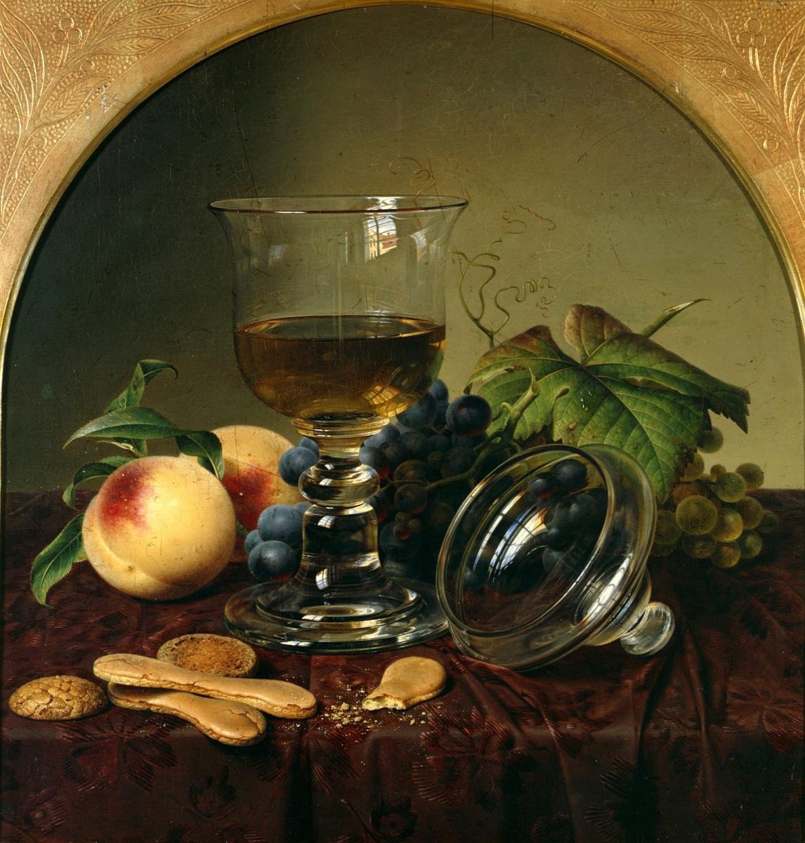 Johann Wilhelm Prairie. Still life with goblet, fruit and biscuits. 1836