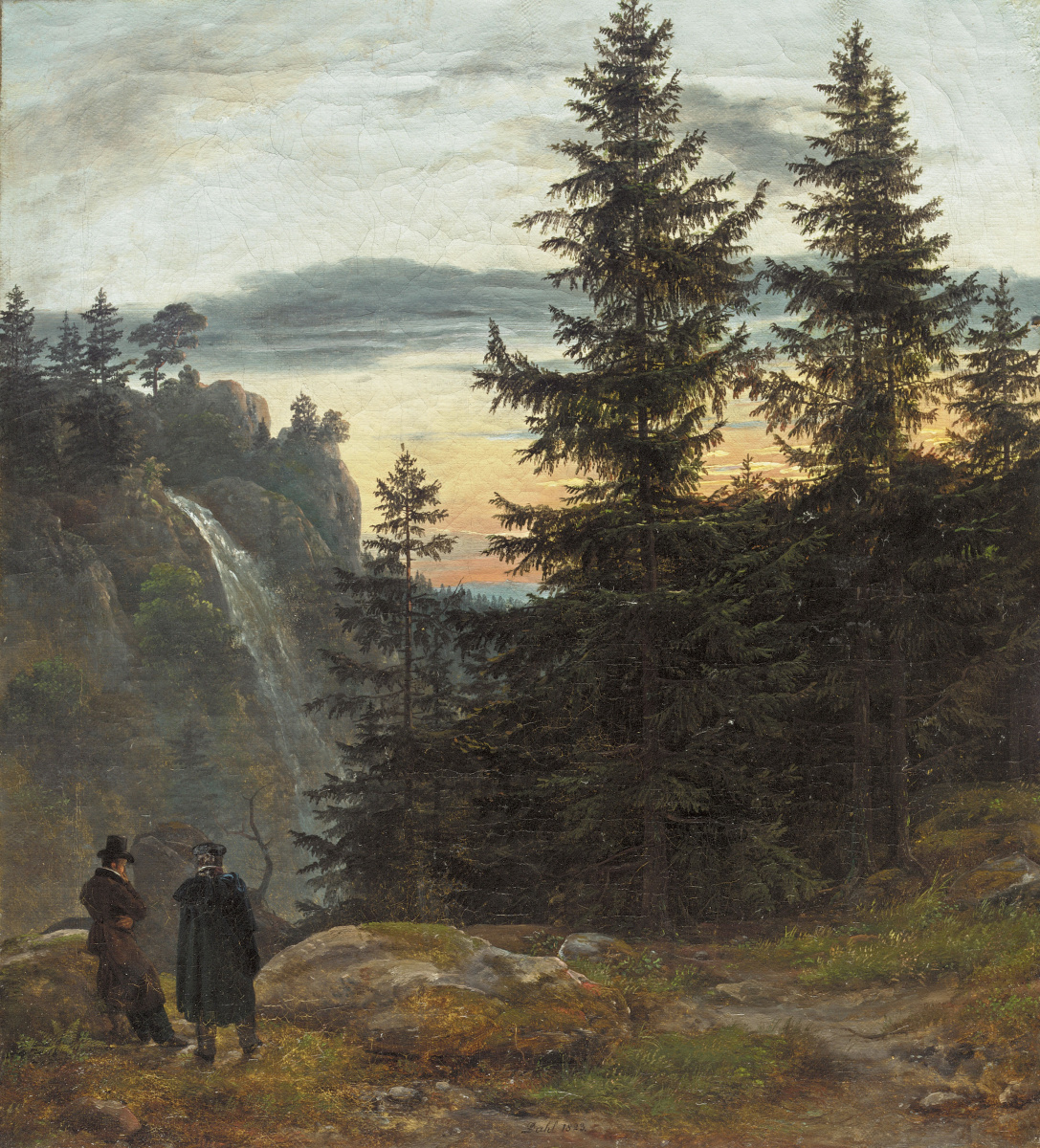 Johan Christian Klausen Dahl. Двое мужчин перед водопадом
