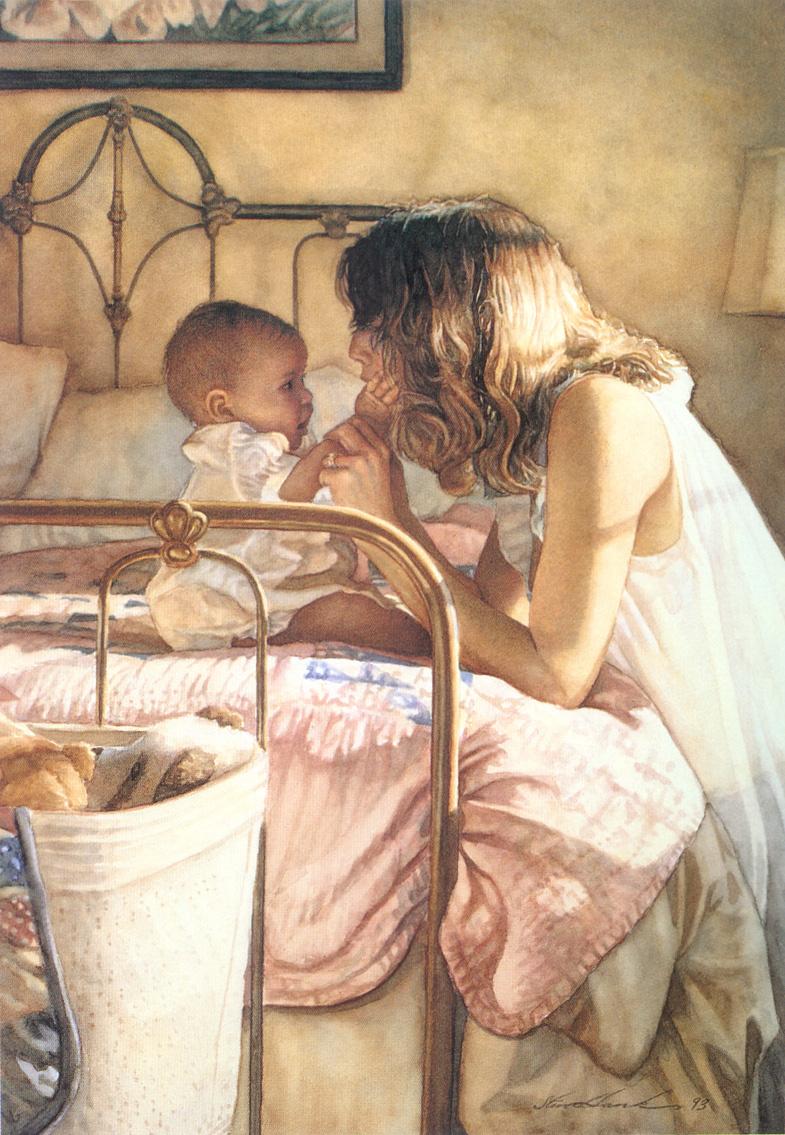 Нарисовать на картине маму и ребенка