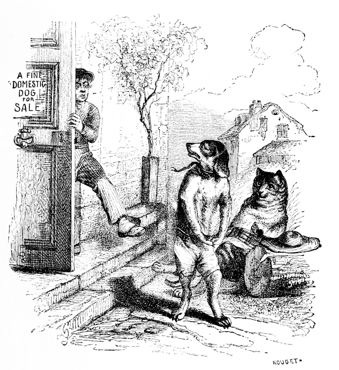 Jean Inias Isidore (Gerard) Granville. Dog and cat. Illustrations to the fables of Florian