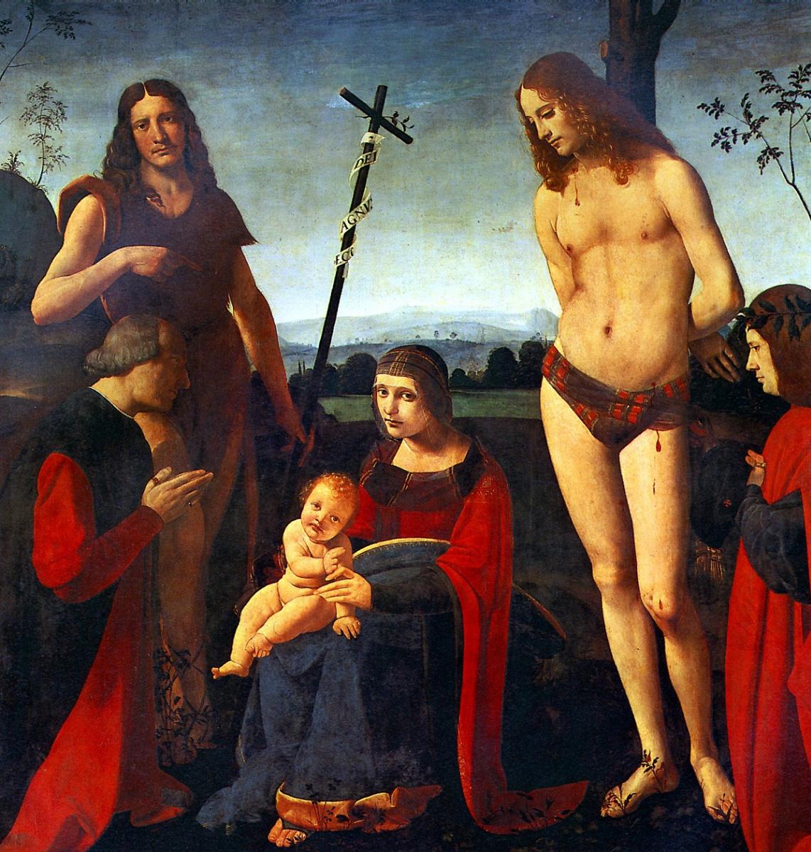 Giovanni Antonio Boltraffio. Madonna and child with saints John the Baptist and Sebastian