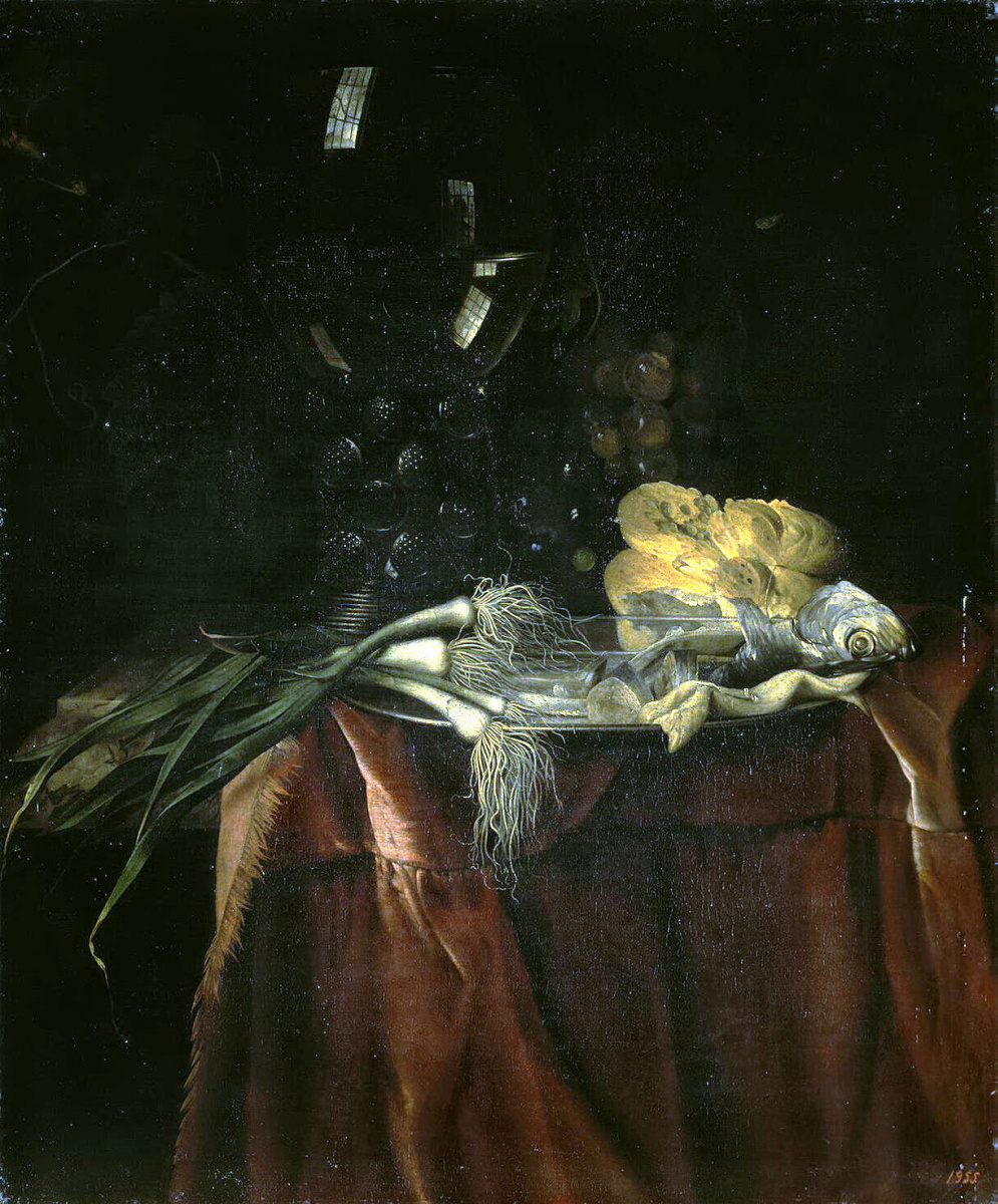 Willem van Aelst. Food. Still life with green onions