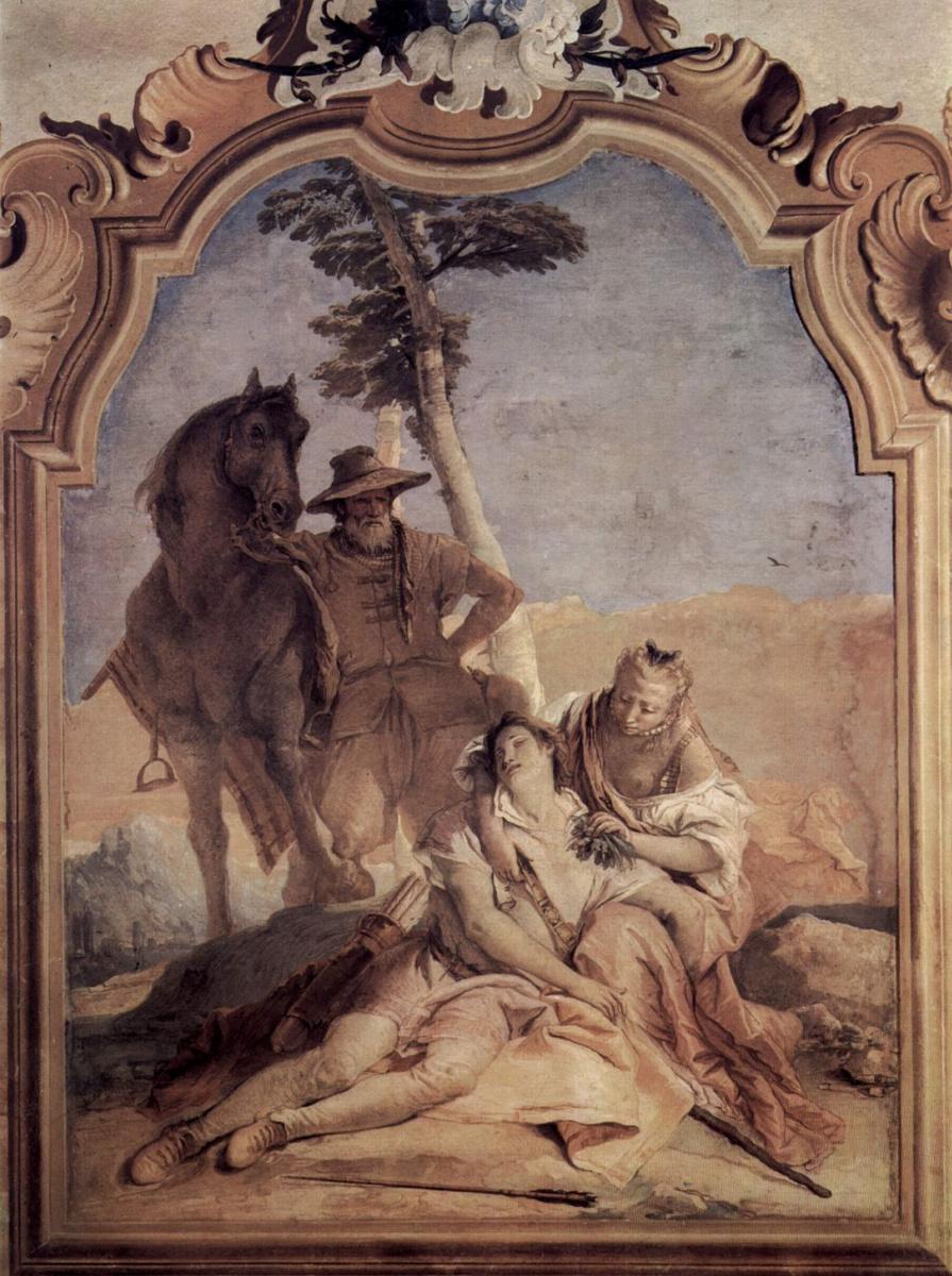 Джованни Баттиста Тьеполо. Анжелика в сопровождении пастуха лечит Медора травами. Фрески из виллы Валлмарана. Виченца
