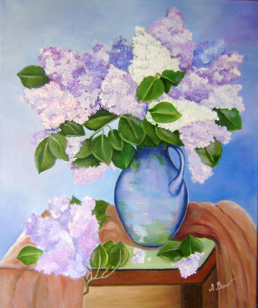 Lyubov Viktorovna Volobaeva. Spring lilac still life