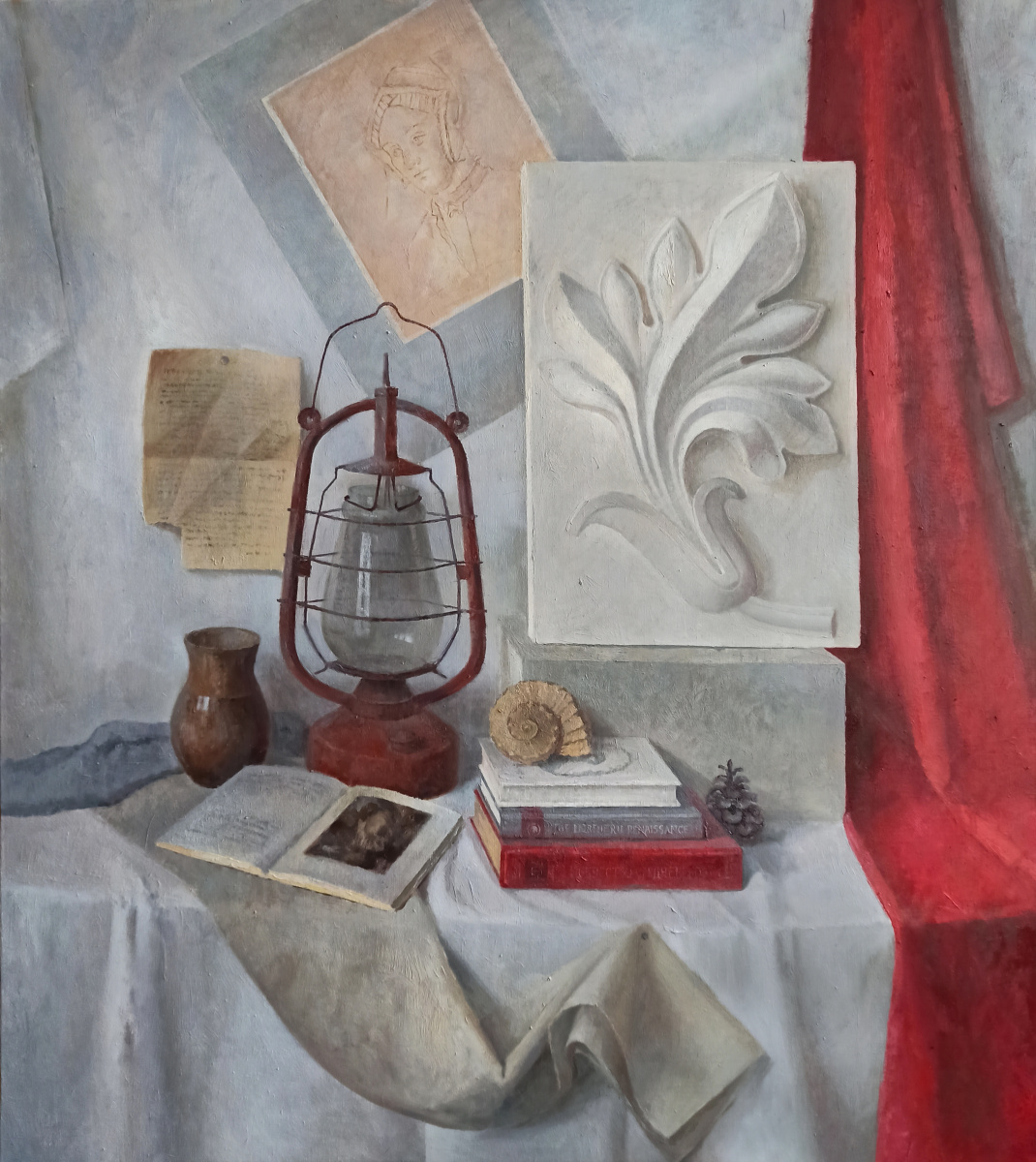 Ольга Акрилова. Still life with plaster rosette