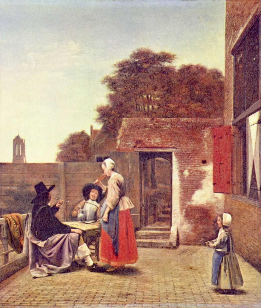 Питер де Хох. Два офицера и пьющая вино женщина во дворе