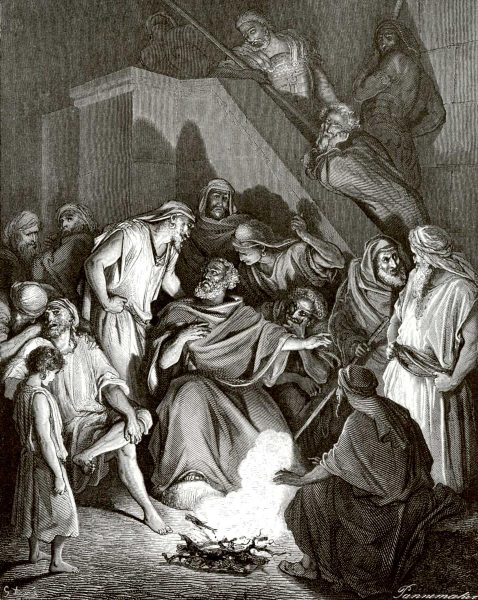 Поль Гюстав Доре. Иллюстрация к Библии: Отречение Петра