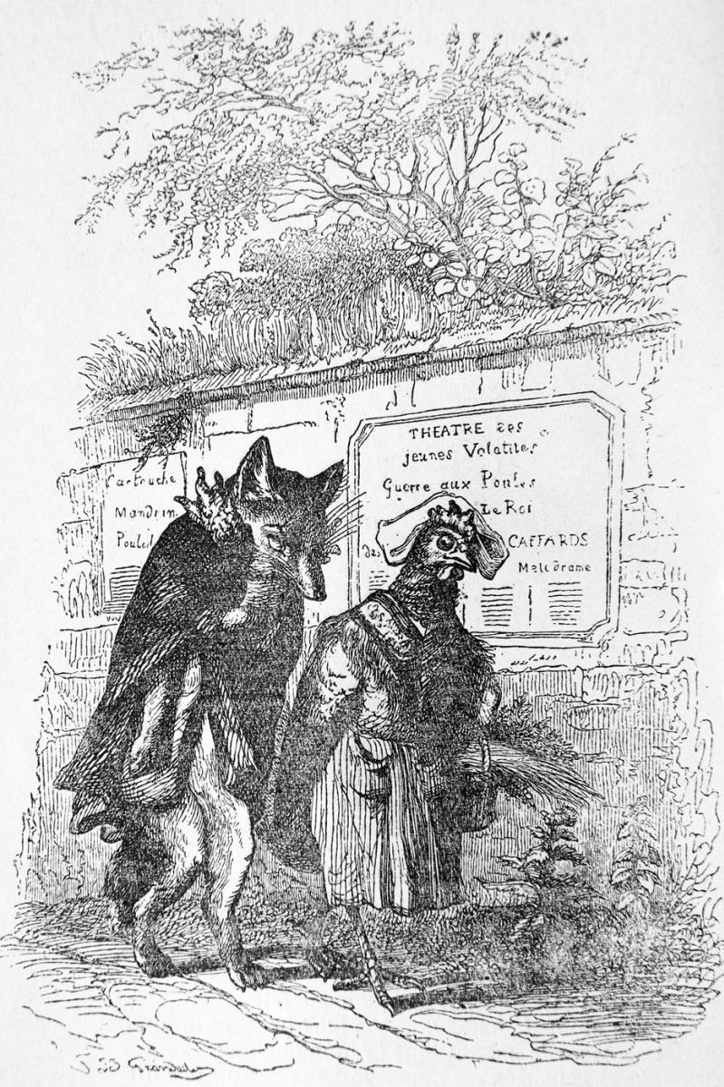 Жан Иньяс Изидор (Жерар) Гранвиль. Старый Лис и молодая Курица. Иллюстрации к басням Флориана