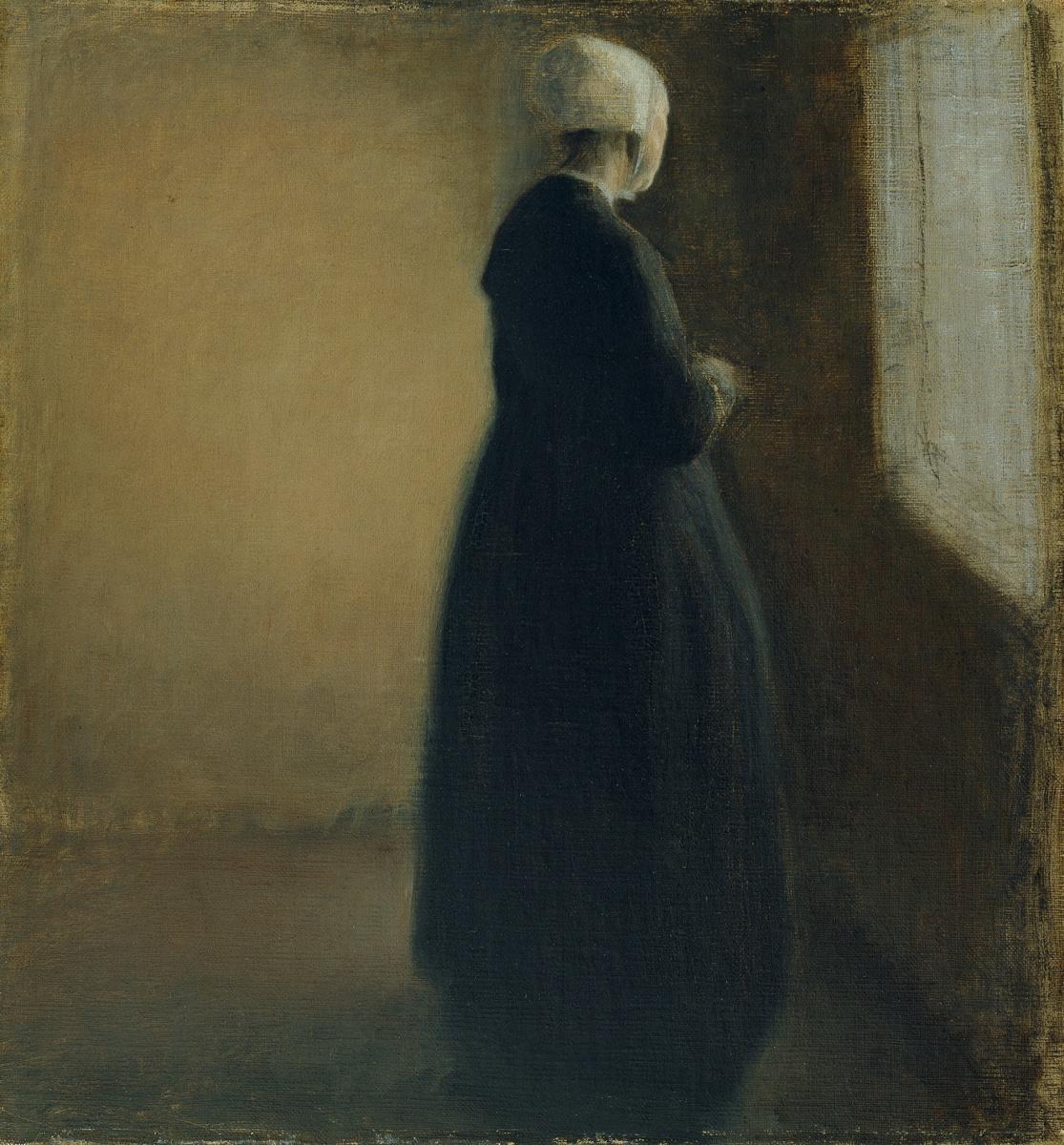 Вильгельм Хаммерсхёй. Пожилая женщина у окна