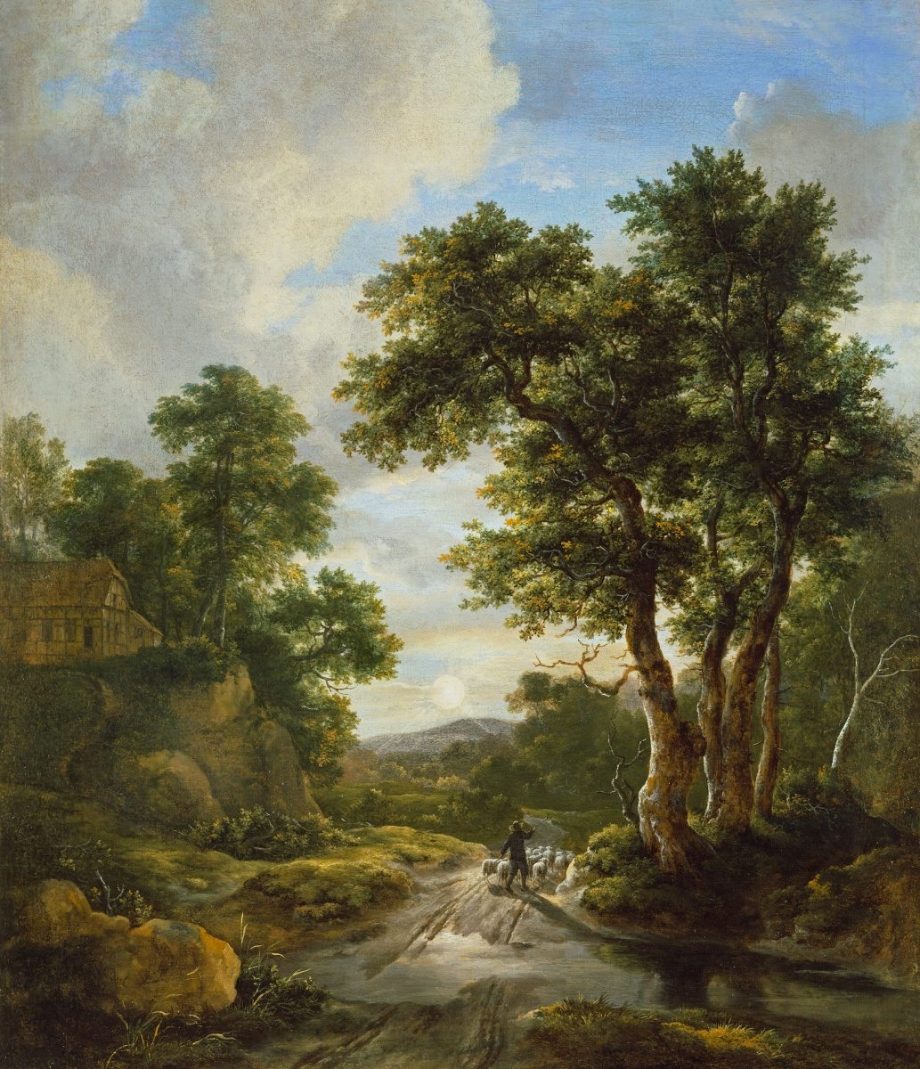 Jakob van Isaacs Ruisdael. Sunrise in the forest