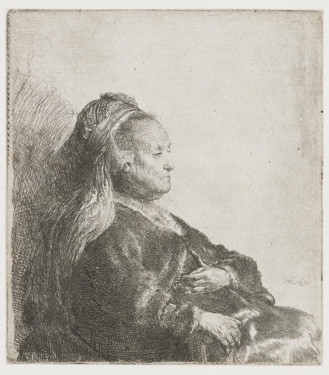 Рембрандт Харменс ван Рейн. Портрет сидящей матери в восточном головном уборе