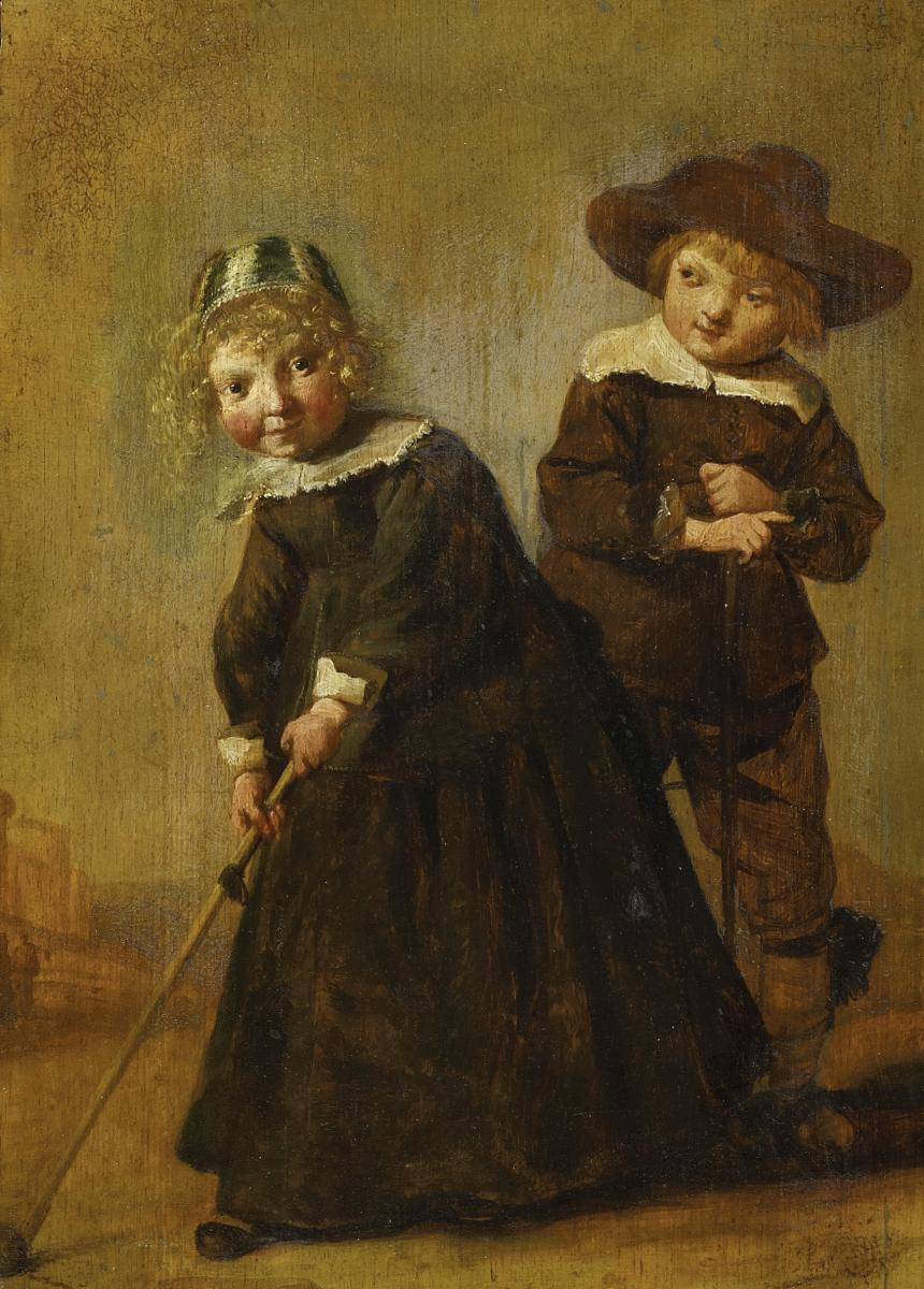 Judith Leyster. Girl and boy playing croquet