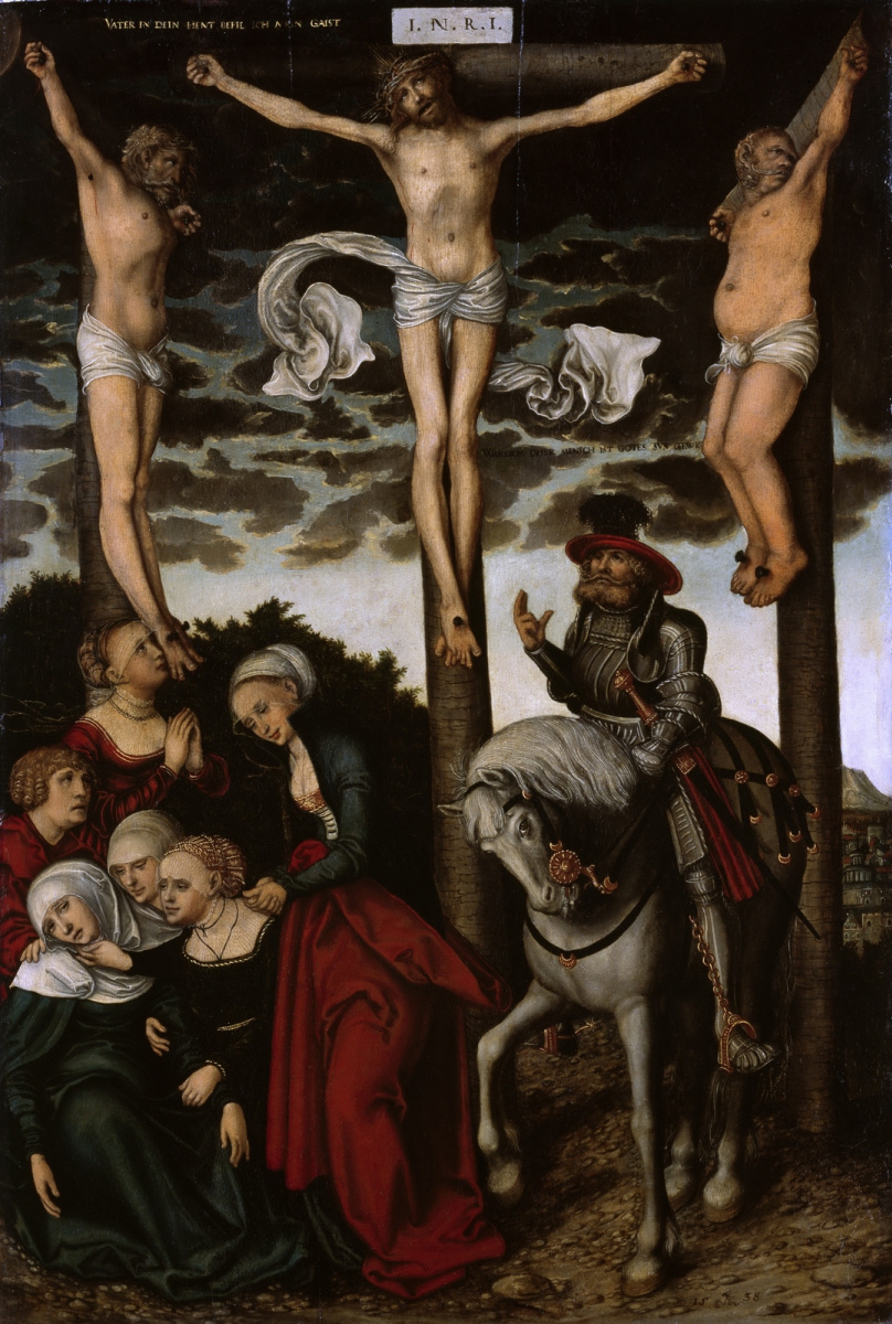 Lucas Cranach the Younger. The crucifixion with the case of the centurion. 1538-1540